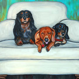 Lauren Hammack - Three Dachshunds On Their Favorite Loveseat