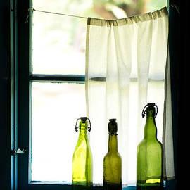 Jaroslaw Blaminsky - Three green glass bottles and the window