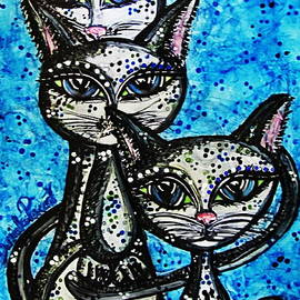 Danielle  Parent - Three Grey Cats-Alcohol Inks