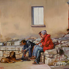 Dominique Amendola - Three men with a dog