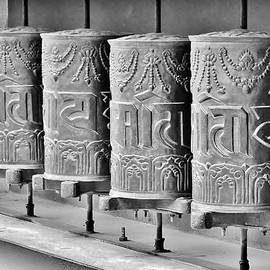 Kim Bemis - Tibetan Prayer Wheels - Black and White