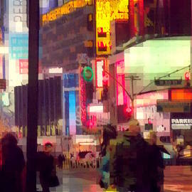 Miriam Danar - Times Square - Man Walking with Yellow Bag