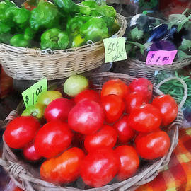 Susan Savad - Tomatoes String Beans and Peppers at Farmer