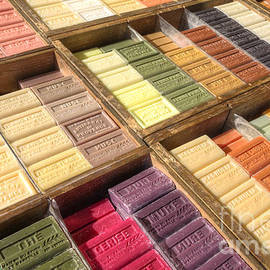 Traditional French soap bars in market displays