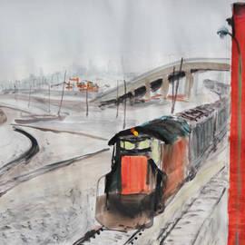 Asha Carolyn Young - Train and Brick Wall with San Francisco Skyline
