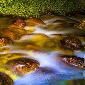 Jerry Cowart - Tranquil Scenic Flowing Mountain Stream Over Golden Rocks
