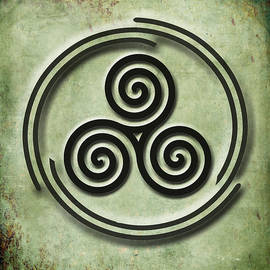 Kandy Hurley - Triple Spiral Black and Green Celtic Art
