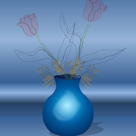 Anna Elia - Tulips in Blue Vase