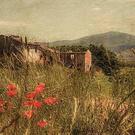 Hugo Bussen - Tuscan landscape with farmhouse with poppies