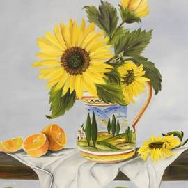 Carol Sweetwood - Tuscan Pitcher and Sunflowers