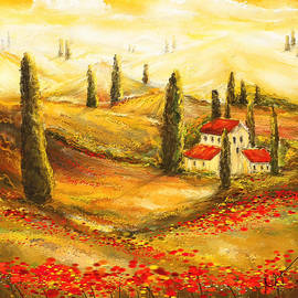 Lourry Legarde - Tuscan Poppies - Tuscan Poppy Fields Impressionist