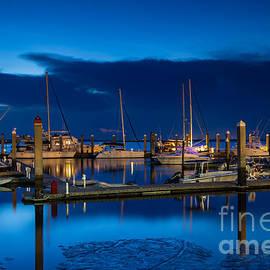Dawna  Moore Photography - Twilight over Fernandina Beach Marina