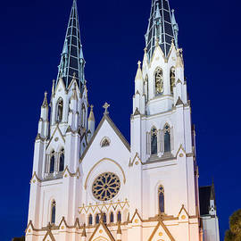Dawna  Moore Photography - Twilight Over St. John the Baptist Cathedral Savannah Georgia