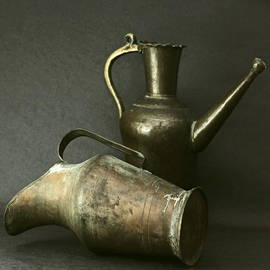Harold Bonacquist - Two Antique Bronze Turkish Watering Cans