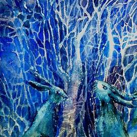 Trudi Doyle - Two Hares Contemplate an Owl by Moonlight