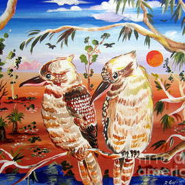 Roberto Gagliardi - Two Laughing Kookaburras in the Outback Australia