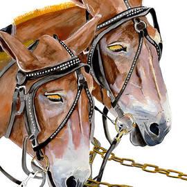 Jan Dappen - Two Mules - Enhanced Color - Farmer
