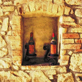 Two Old Brunello Wine Bottles in Tuscany