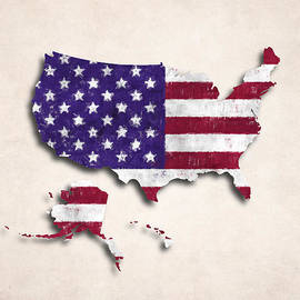 World Art Prints And Designs - United States Map Art with Flag Design