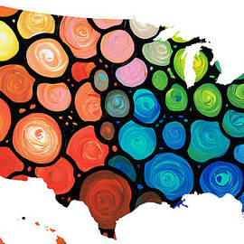 Sharon Cummings - United States of America Map 1 - Colorful USA