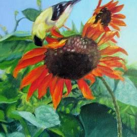Bonnie Mason - Upside Down Delight-Goldfinch on Sunflower