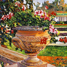 David Lloyd Glover - Urn of English Geraniums
