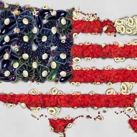 Eti Reid - USA flag map fruits and vegetables art