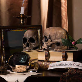 Levin Rodriguez - Vanitas with Mirror-Skull-Writting Utensils and Snuffed Candle