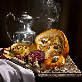 Jon Wild - Vanitas with Pumpkin Pomegrante and Apples