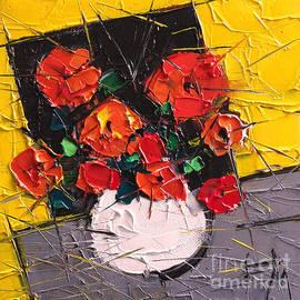 Mona Edulesco - Vermilion Flowers On Black Square
