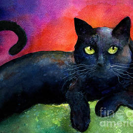 Svetlana Novikova - Vibrant Black Cat watercolor painting