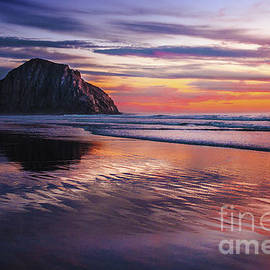 Jerry Cowart - Vibrant Reflections Of Sunset on Morro Bay Beach Sand