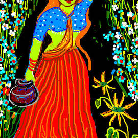 Anand Swaroop Manchiraju - Village Girl With Pots