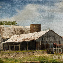 Luther   Fine Art - Barn -Vintage Barn with Brick Silo - Luther Fine Art