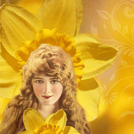 Peggy Collins - Vintage Collage - Woman and Daffodils