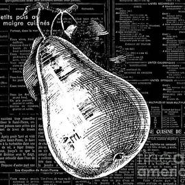 Anahi DeCanio - Vintage Pear on Black and White French Recipe Text