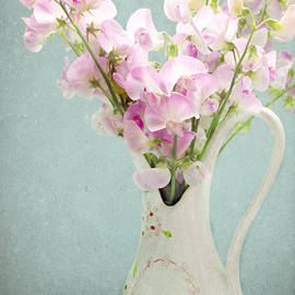 Peggy Collins - Vintage Sweet Peas in a Pitcher