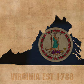 Design Turnpike - Virginia State Flag Map Outline With Founding Date On Worn Parchment Background
