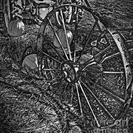 Adri Turner - Wagon Wheel Harvest On The Farm Monochrome Black and White