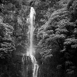 Connie Fox - Waikani Falls at Wailua Maui Hawaii B W