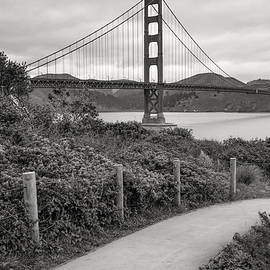 Gregory Ballos - Walking to the Golden Gate Bridge - Black and White