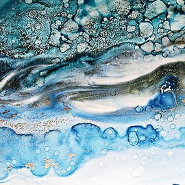 Danielle  Parent - Water Ripples And Silver Linings Alcohol Inks