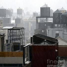 Lilliana Mendez - Water Towers on NYC Rooftops and Rain