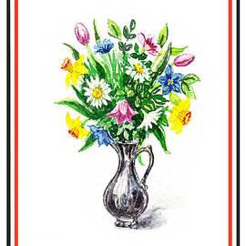 Irina Sztukowski - Watercolor Flowers Bouquet In Metal Pitcher Impressionism
