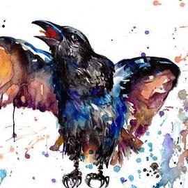 Tiberiu Soos - Watercolor Painting - Croaking Raven