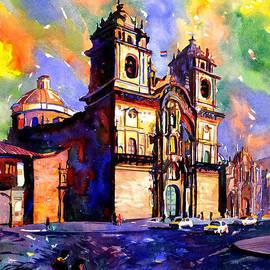 Ryan Fox - Watercolor painting of Church on the Plaza de Armas Cusco Peru
