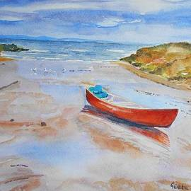 Geeta Biswas - Watercolor painting of Red Boat