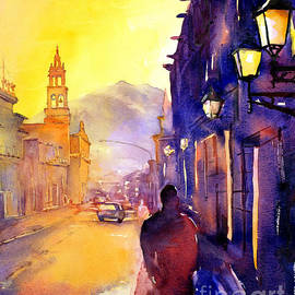 Ryan Fox - Watercolor painting of street and church Morelia Mexico
