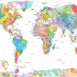 Michael Tompsett - Watercolor Political Map of the World