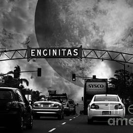 Wingsdomain Art and Photography - Welcome To Encinitas California 5D24221 black and white